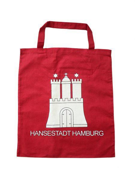 city souvenir souvenirs aus deiner stadt stoff tasche hamburg wappen rot. Black Bedroom Furniture Sets. Home Design Ideas