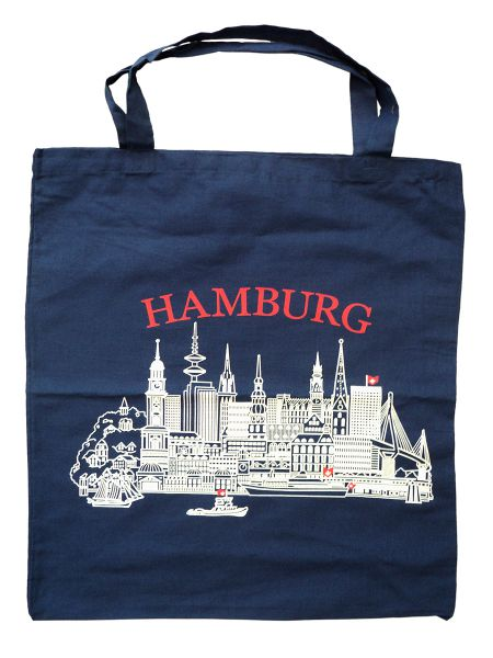 stoff tasche hamburg blau blauer baumwoll shopper hamburg souvenir ebay. Black Bedroom Furniture Sets. Home Design Ideas