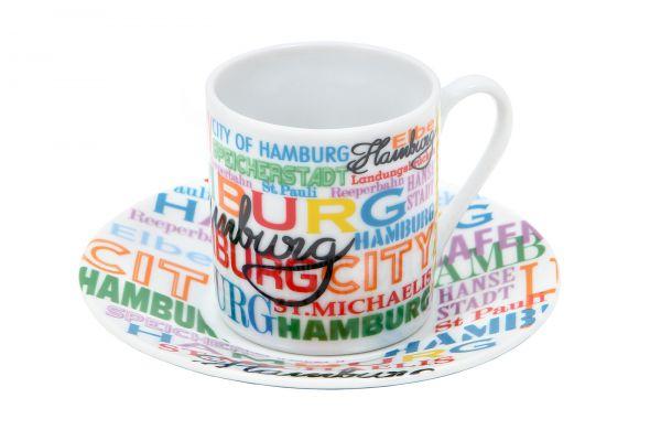 Espressotasse mit untertasse hamburg bunt souvenir for Souvenir shop hannover
